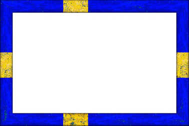 empty wooden picture or blackboard frame in sweden swedish flag design isolated on white background