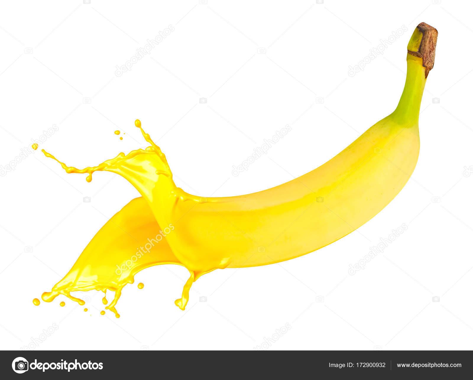 Abstrakte Gelbe Banane Frucht Farbe Farbwunder Isoliert Auf Weißem ...