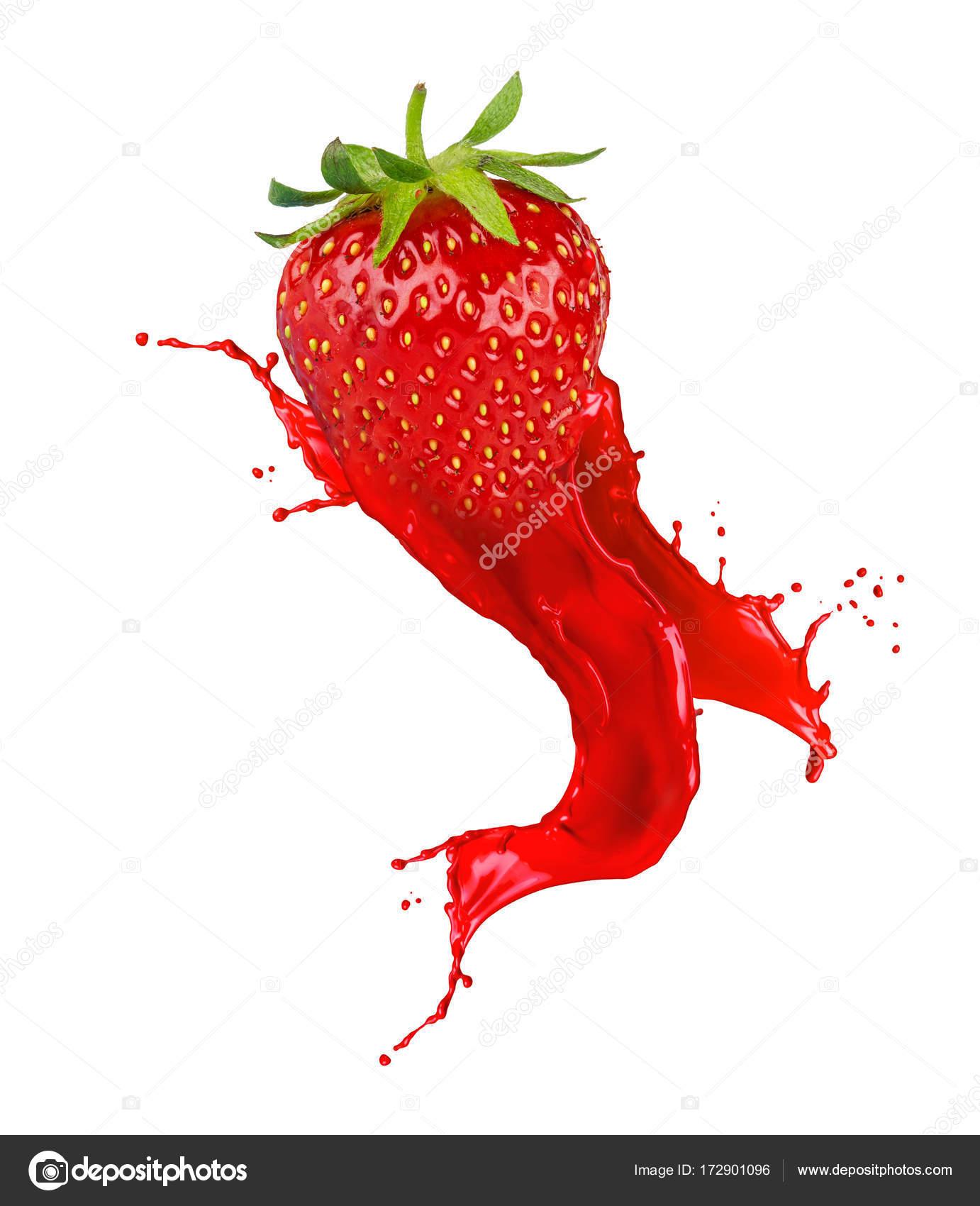Abstrakte Rote Erdbeere Frucht Farbe Farbwunder Isoliert Auf Weißem ...