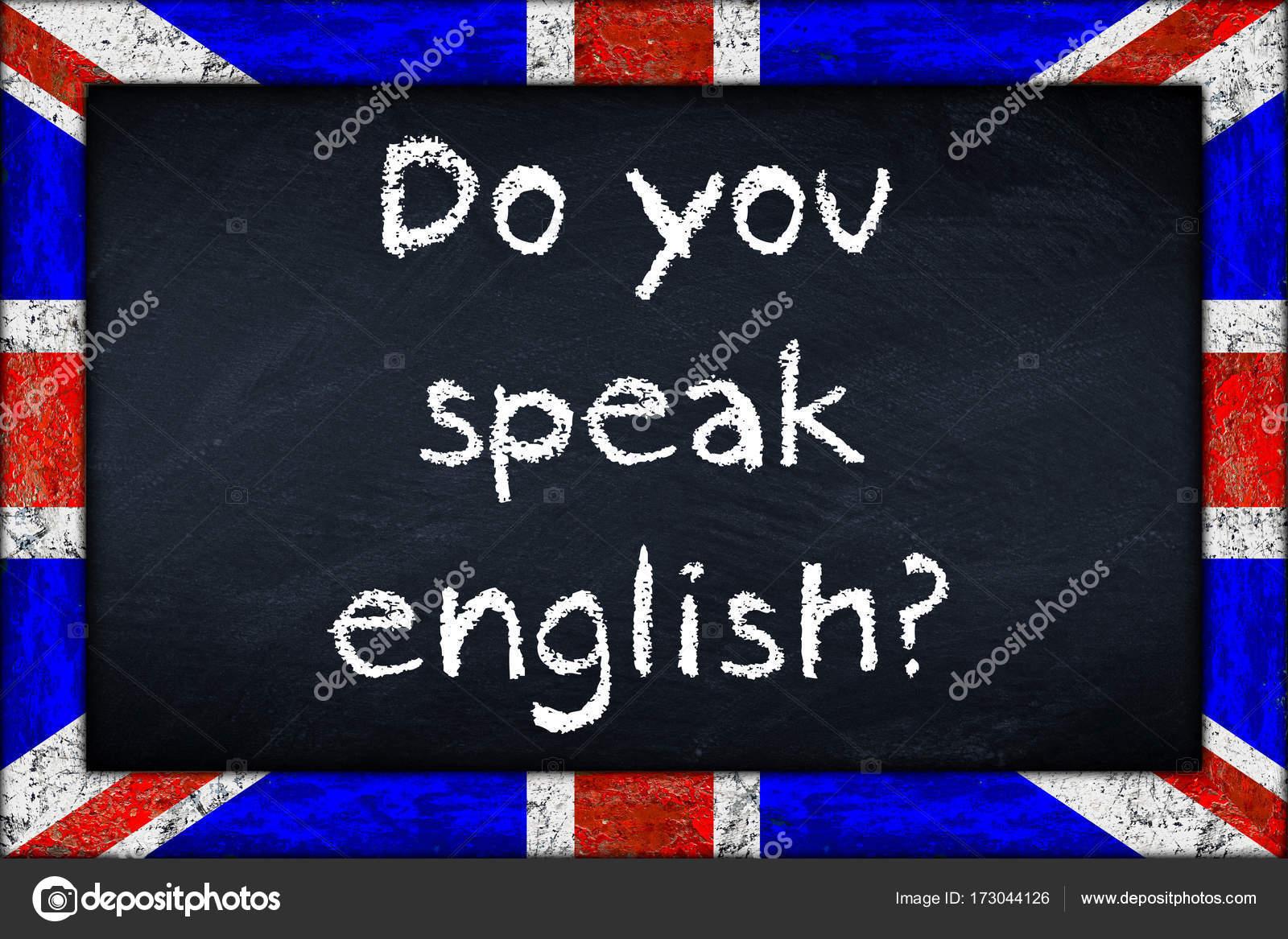 hablas englsh pizarra con marco de bandera union jack — Foto de ...