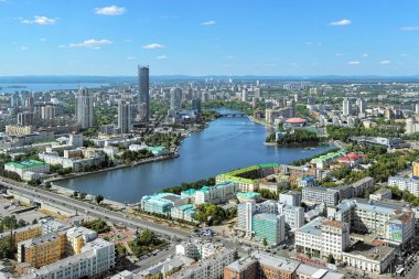 View of Yekaterinburg from observation deck on Vysotsky skyscraper, Russia