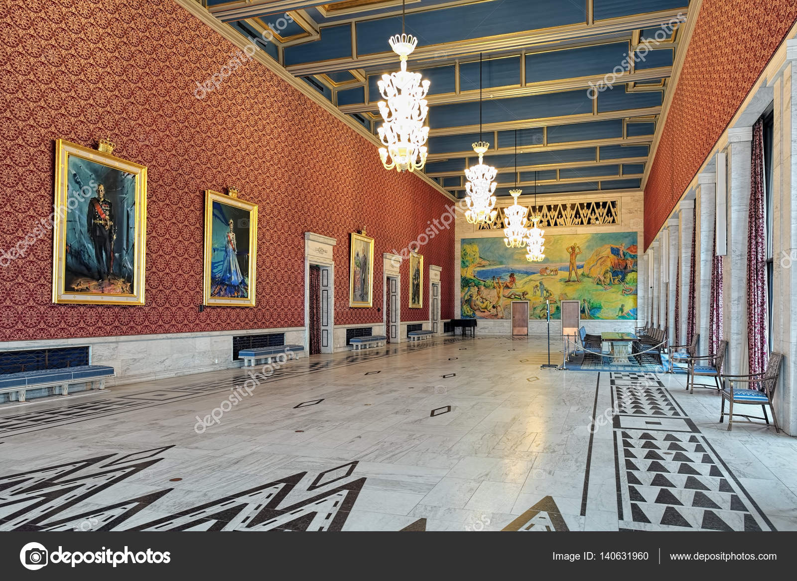 Interieur van Banquet Hall in Oslo City Hall, Noorwegen ...