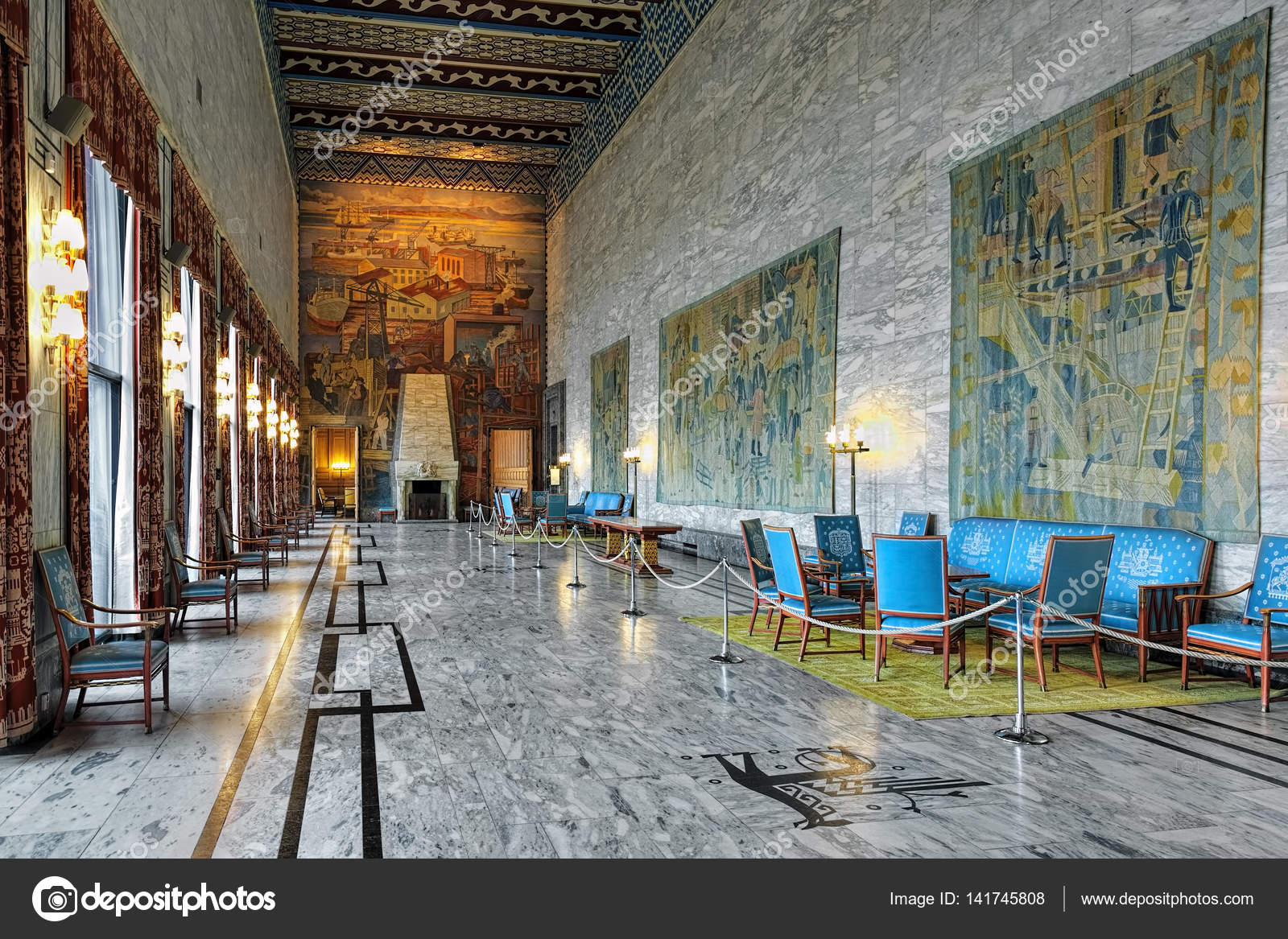Interieur voor Festival Gallery in Oslo City Hall, Noorwegen ...