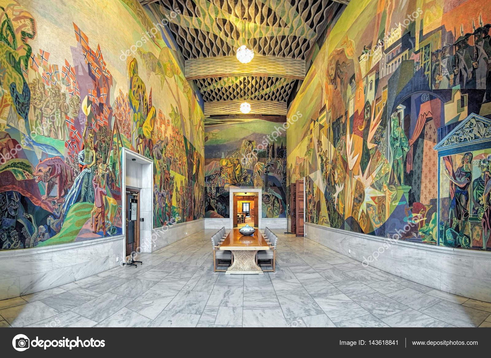 Interieur van West Gallery (Storstein kamer) in Oslo City Hall ...