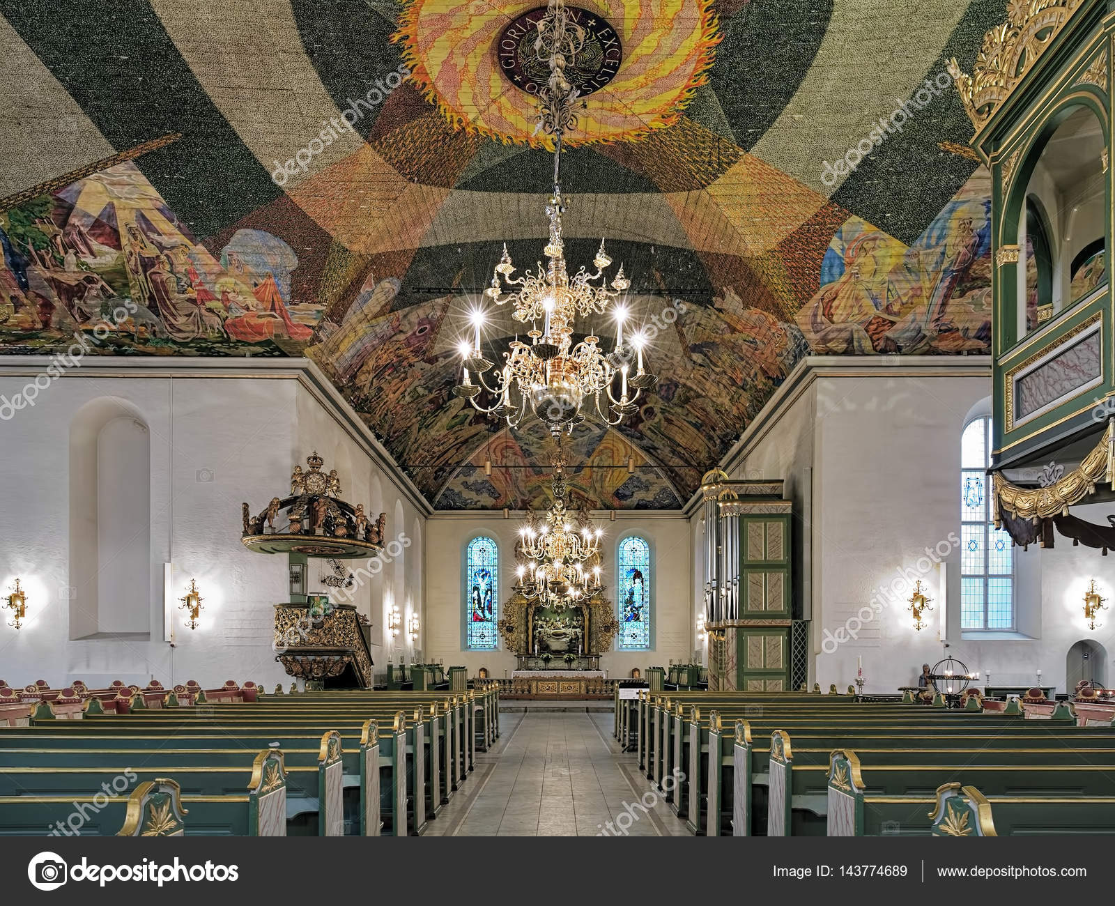 interieur van oslo cathedral noorwegen stockfoto