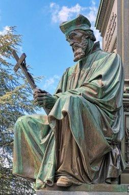 Statue of Jan Hus, an element of the Martin Luther Monument in Worms, Germany