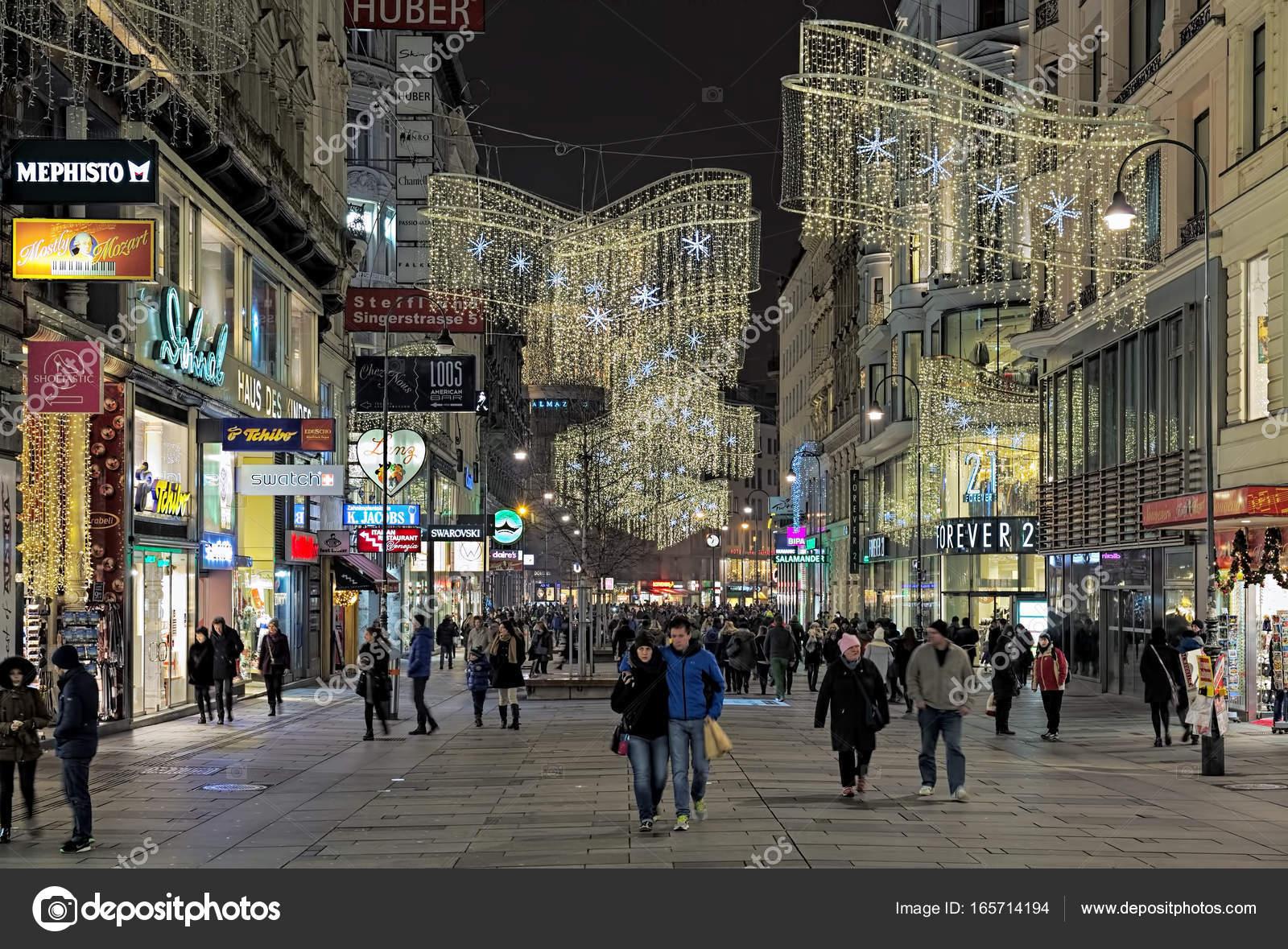 Karntner Strasse With Christmas Decoration And Illumination In Vienna,  Austria U2014 Stock Photo