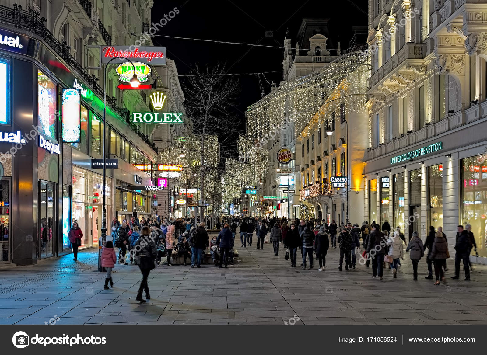 Karntner Strasse With Christmas Decoration And Illumination In Vienna In  Dusk, Austria U2014 Stock Photo