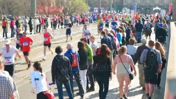 Prague Czech Republic April 17 2017: Sportisimo Half Marathon Race, people watching runners up close, fully crowded scene