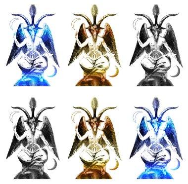 Baphomet Goat sketch in black gold and blue