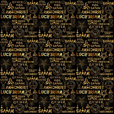 Wiccan symbols and sigils in gold on black background
