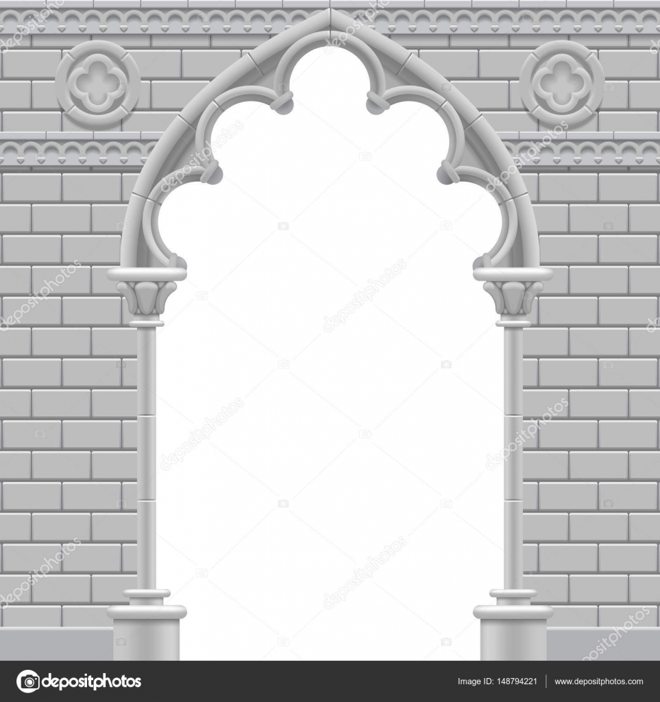 Stone Gothic Arch And Wall In Black White Colors Stock Vector