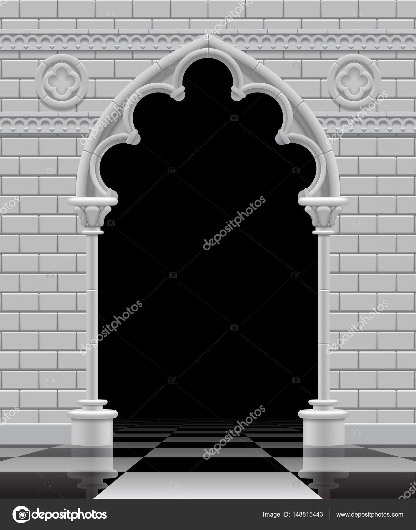 Stone Gothic Arch And Wall In Black White Colors On The Glos Stock Vector