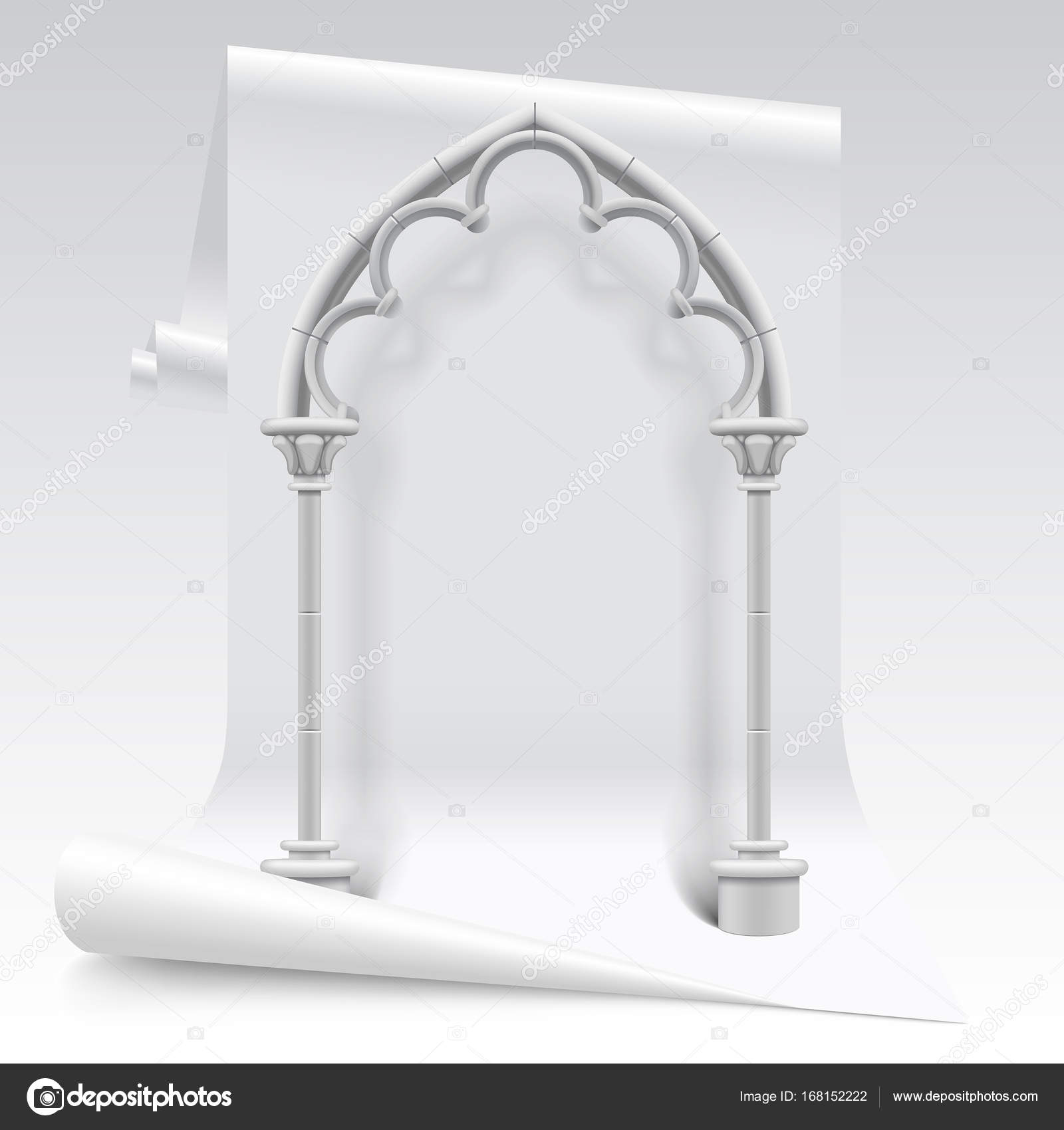 White Paper Sheet And Gothic Arch Model Stock Vector