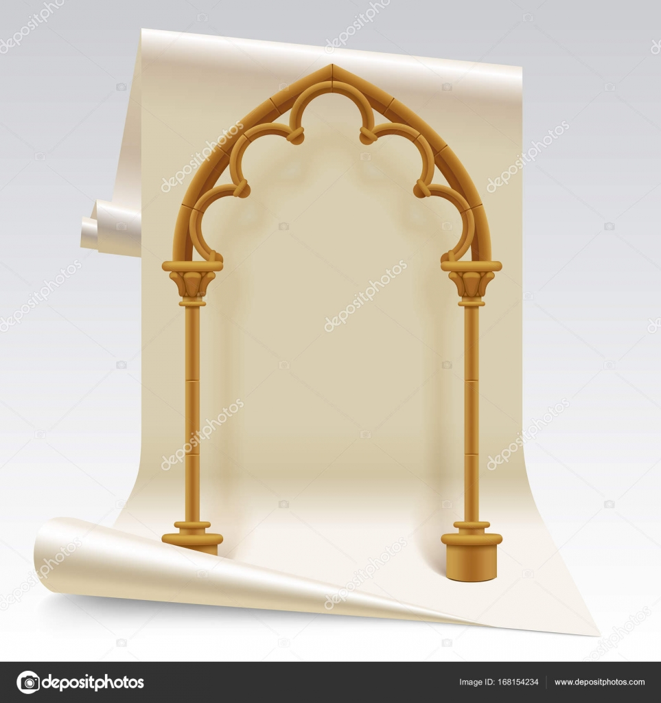 Paper Sheet And Brown Gothic Arch Model Stock Vector