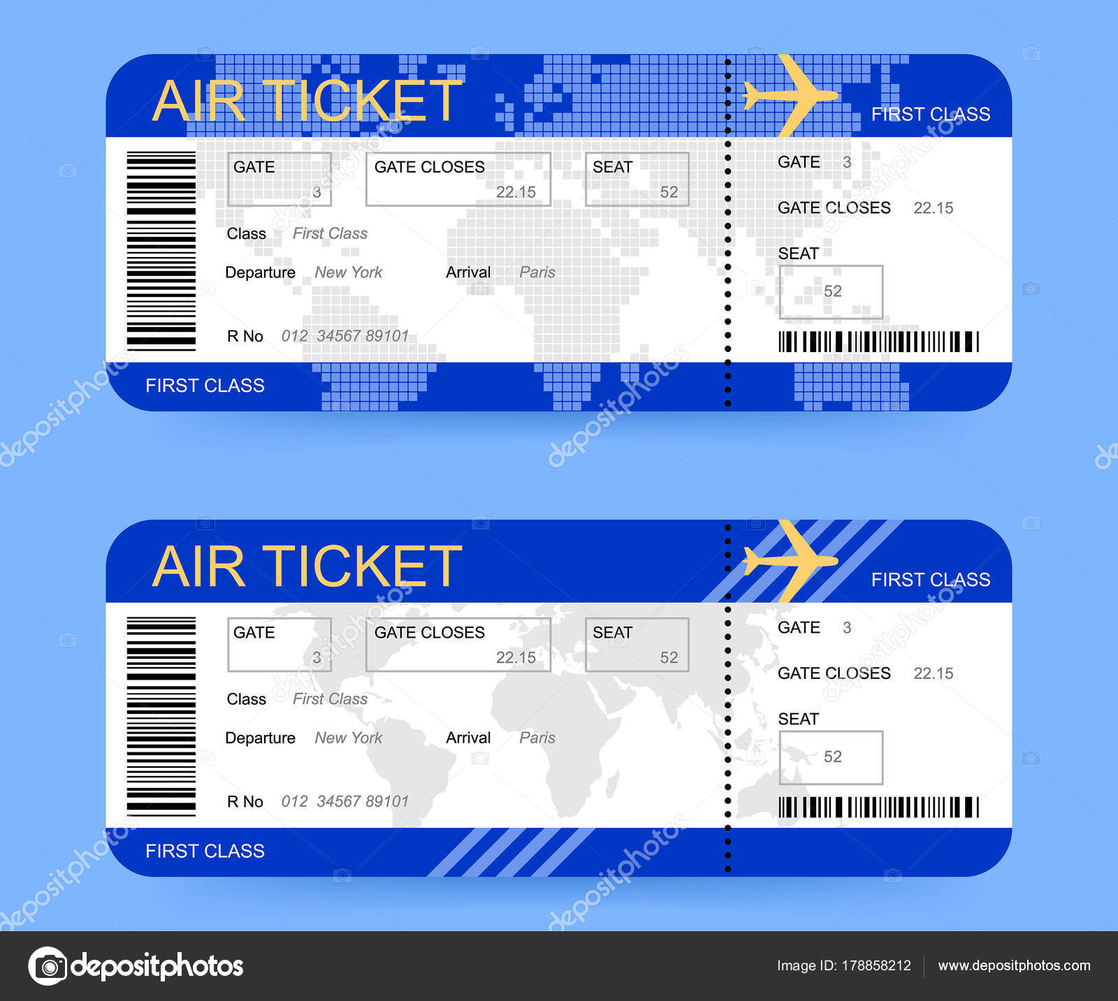 Boarding Passes Or Air Tickets On Blue Background