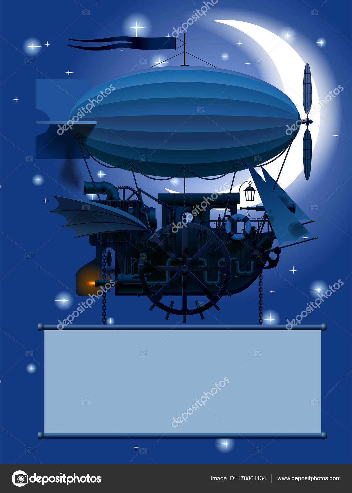 vintage steampunk template with a fantastic flying ship in night sky