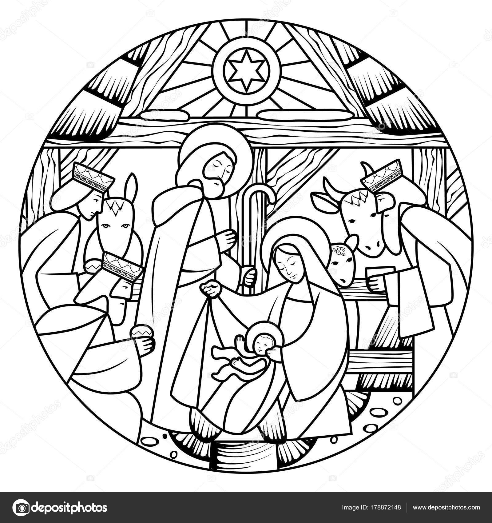 Dibujo lineal de la escena del nacimiento de Jesucristo en forma de ...