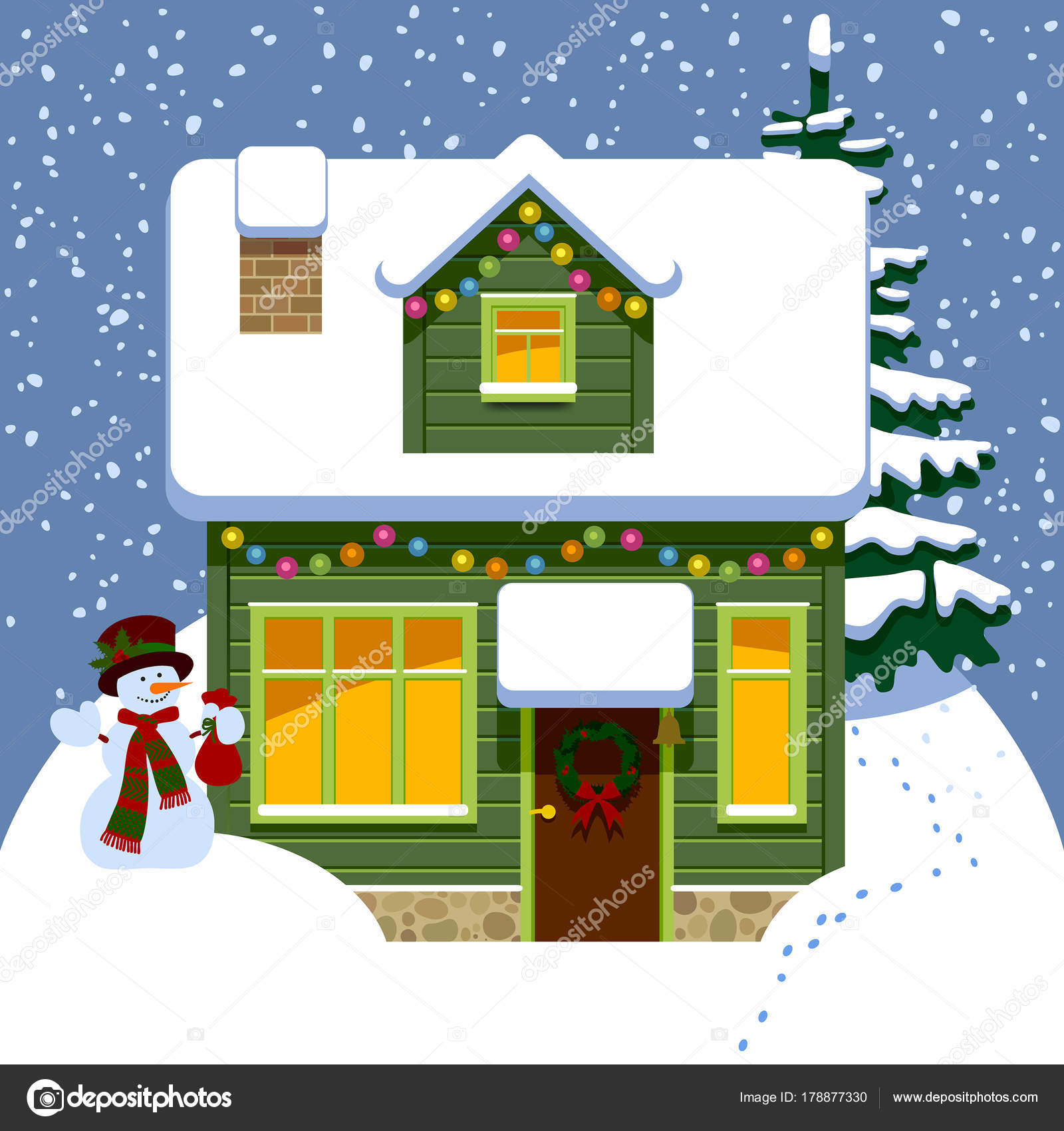 Green Wooden Christmas House In Winter Covered By Snow With Snowman And Spruce Drawing Flat Style Vector Illustration Maystra