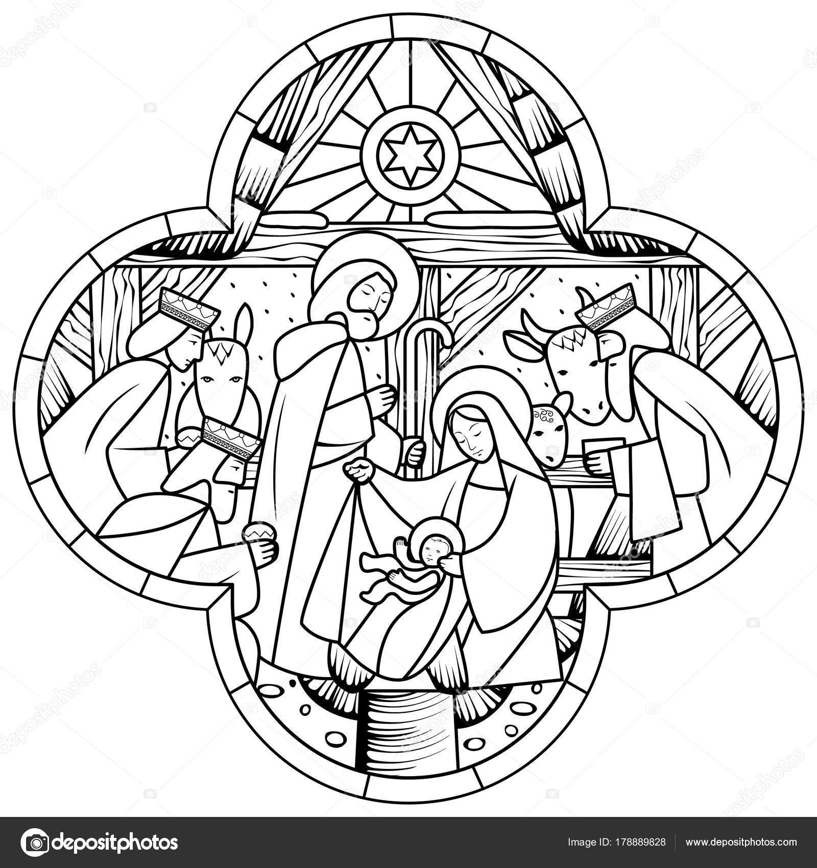 Dibujo lineal de la escena del nacimiento de Jesucristo en cruz ...