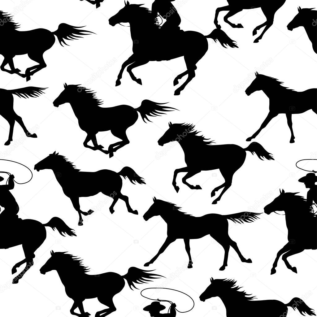 Cowboy Chasing A Herd Of Wild Mustang Horses Vintage Seamless Backgrounds With Wild Horses Illustration For Wallpaper Textile Printing Wrapping Paper Premium Vector In Adobe Illustrator Ai Ai Format