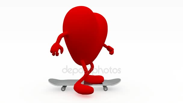 41eb3a51 heart with arms and legs on skateboard — Stock Video © fabioberti.it ...