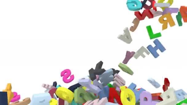 viele 3D-farbige Buchstaben fallen auf weißem Hintergrund, 3D-Animation
