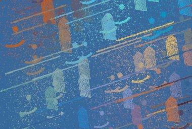 "Картина, постер, плакат, фотообои ""Abstract background art. 2d illustration. Expressive oil painting. Brushstrokes on canvas. Modern art. Multi color backdrop. Contemporary art. Expression. Artistic digital palette."", артикул 345891760"