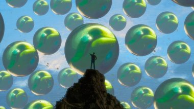 Abstract background with human silhouette and balls