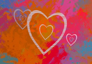 Abstract Valentine background art. Hearts on canvas. Multicolored romantic backdrop. Contemporary art. Artistic digital palette.