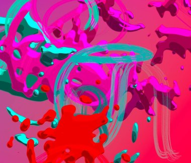 Abstract background art. 3d illustration. Brushstrokes on canvas. Multicolored backdrop. Contemporary art. Artistic digital palette.