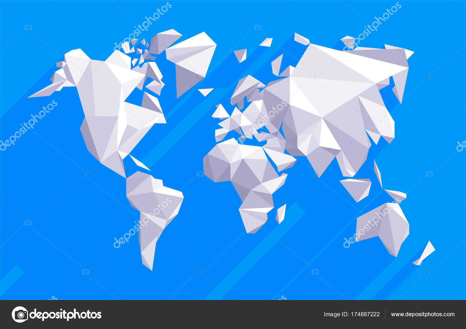Origami world map stock vector kundra 174887222 vector origami world with flat shadows triangle world map illustration low poly design vector by kundra gumiabroncs Gallery