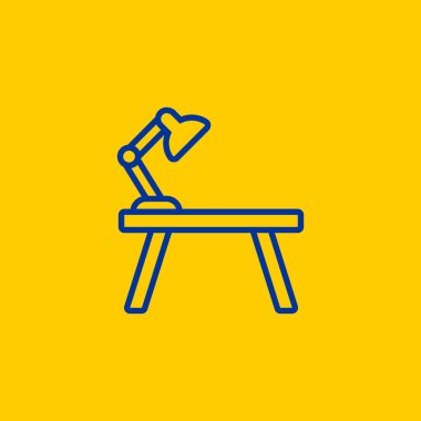 Blue line Work Desk table icon on yellow background
