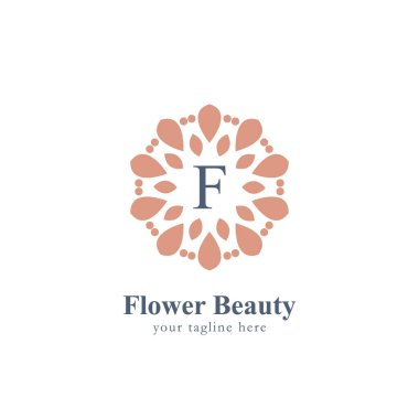 Abstract flower beauty logo with letter F in the center flower symbol