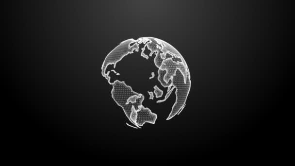 Schöne weiße Erde Hologramm Rotierende Nahtlose. 3D-Animation im Looping