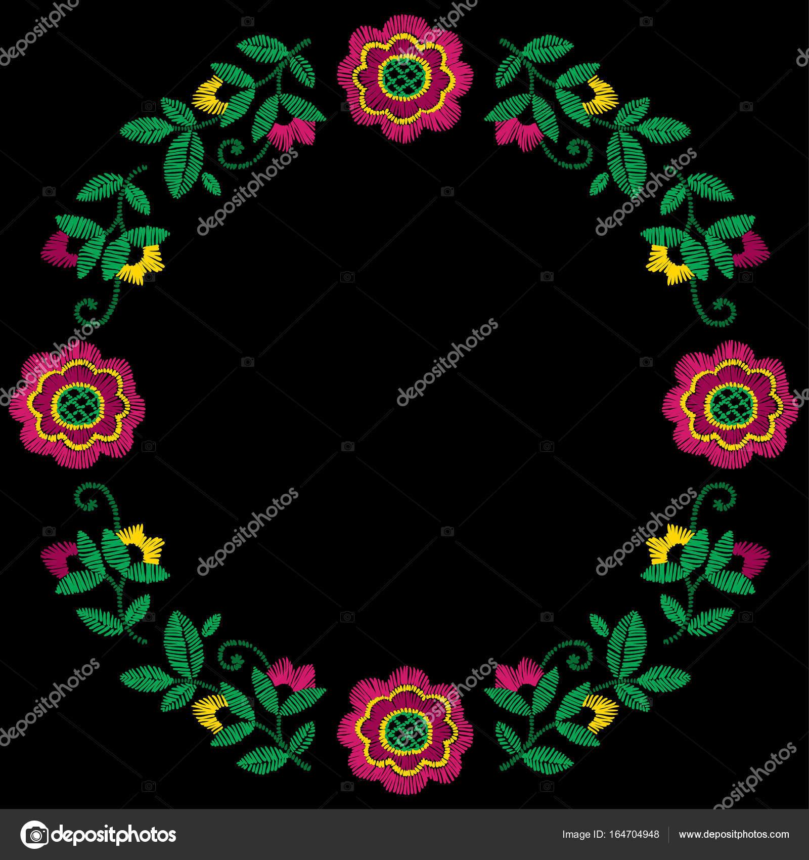 Bordado decorativo marco floral vector patrón, adorno para la ...