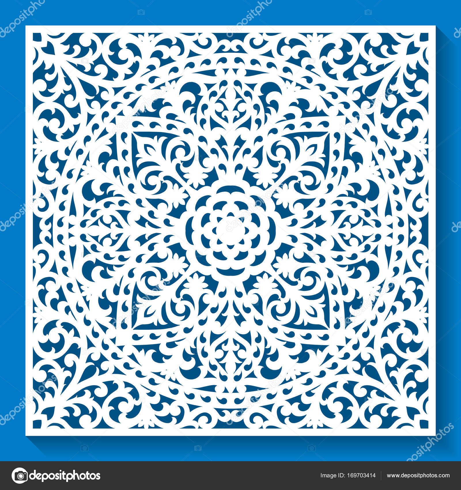 Panneau décoratif avec motif ajouré, élégant ornement carré pour la ...