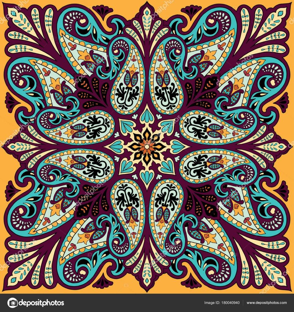 Bandana de vecteur impression d ornement de paisley. Foulard en soie, le foulard  carré design, tissu de style oriental — Vecteur par singularity123 bb1865c0594