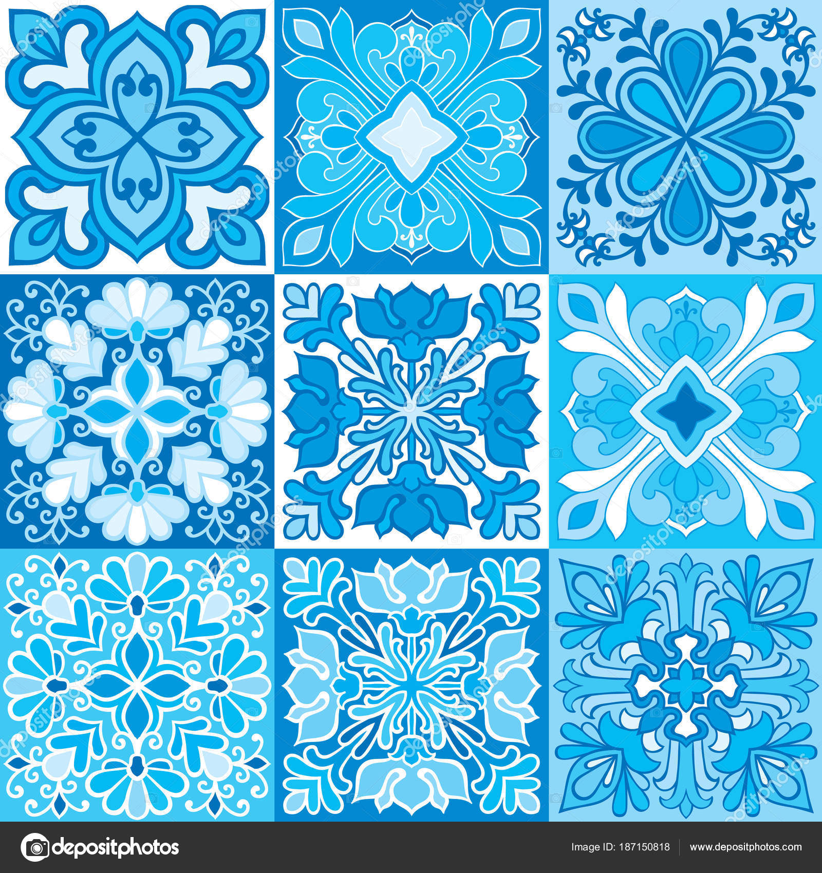 Seamless vector background of colorful tiles with Moroccan, Arabic ...