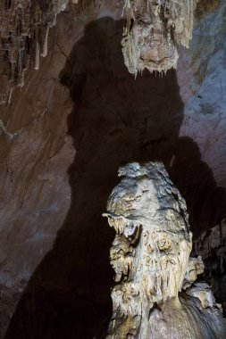 Cave stalactites, stalagmites, and other formations at Emine-Bair-Khosar, Crimea