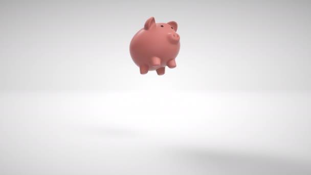 Prasátko banka s mincemi lámání na bílém pozadí