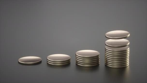 Stříbrné mince na šedém pozadí