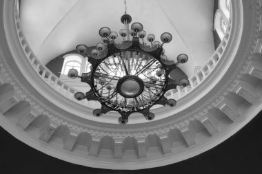 A large chandelier inside the Chernihiv railway station.