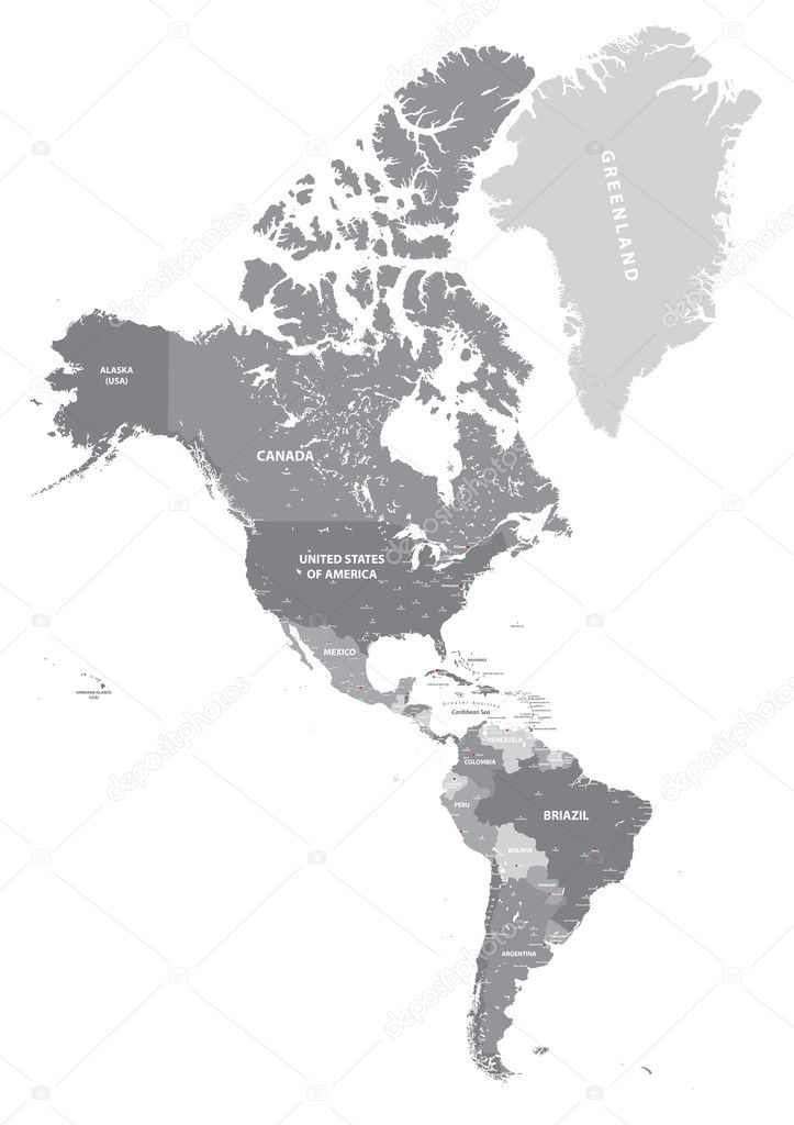 North and South America high detailed political map in grey scales ...