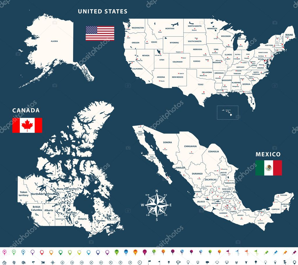 Maps of Canada, United States and Mexico with flags and ...