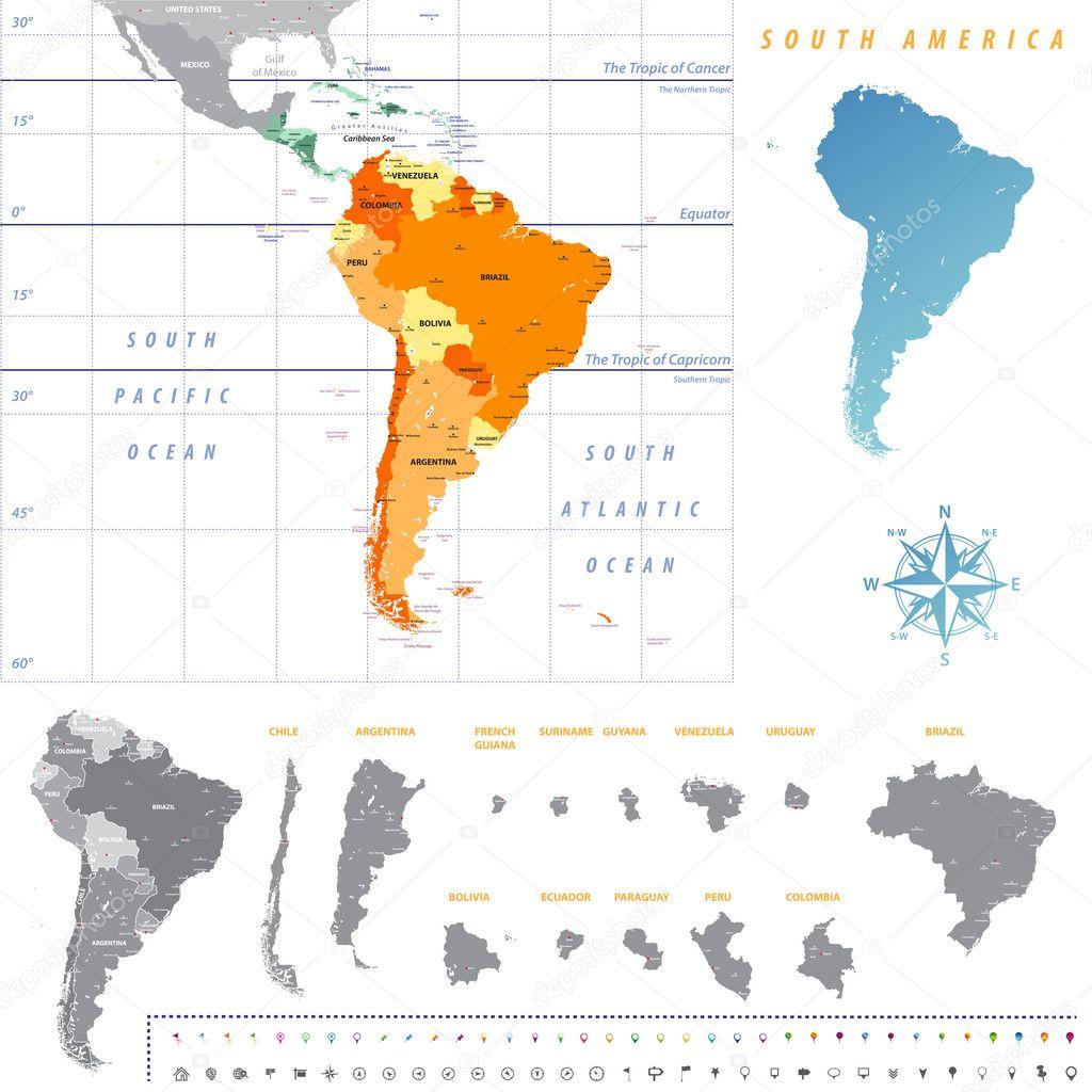 Carte Damerique Du Sud Avec Les Pays.Carte De L Amerique Du Sud Avec Chaque Carte Pays Separement Isole