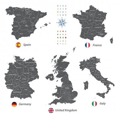 high detailed vector maps of United Kingdom, Italy, Germany, France and Spain with administrative divisions.