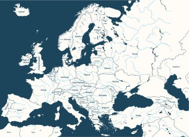 Europe high detailed vector political map with rivers.