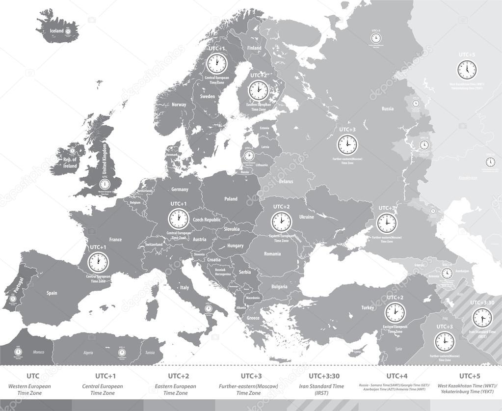 Europe time zones map in grey scales with location and clock icons europe time zones map in grey scales with location and clock icons all layers detachable gumiabroncs Gallery