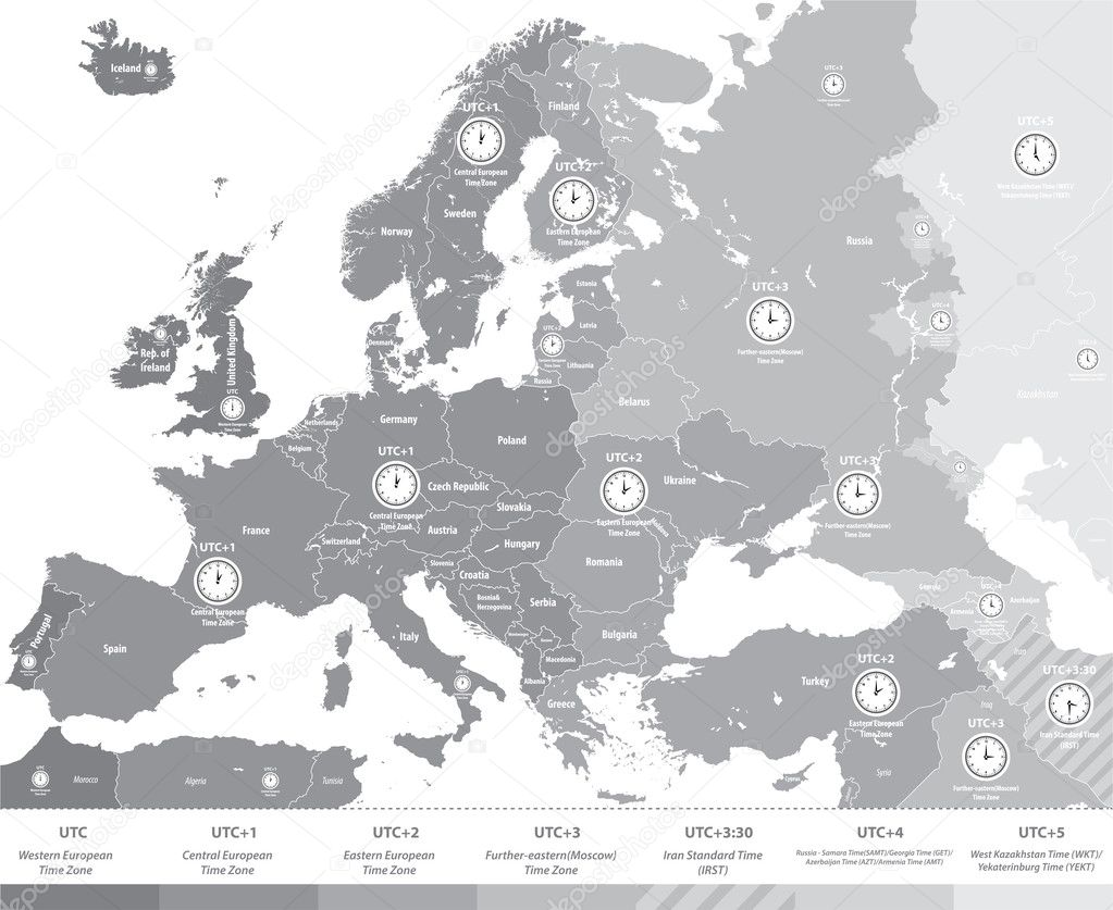 Europe time zones map in grey scales with location and clock icons europe time zones map in grey scales with location and clock icons all layers detachable gumiabroncs